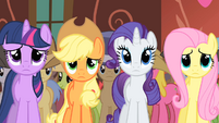 Twilight, Applejack, Rarity and Fluttershy see Appleloosa flag S01E21