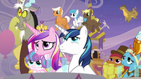 Cadance, Shining, Flurry, and Discord at coronation S9E26
