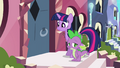 Crystal pony shuts door on Twilight and Spike S3E1.png