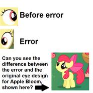 FANMADE Apple Bloom eye error comparison S3E8