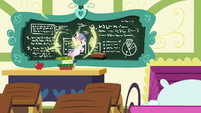 Flurry Heart teleports up to the chalkboard S7E3