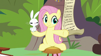 Fluttershy pointing to the other animals S9E18