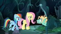 Mad Zephyr greets Fluttershy and Rainbow S6E11
