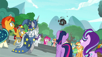 Mane Six and Pillars see a black cloud forming S7E25