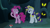 Pinkie Pie grinning widely at Rarity S7E19