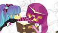 Pixel Pizzaz shoves a book in Cheerilee's face EG3.png