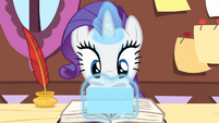 Rarity puts her box on the journal S4E08