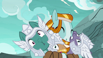 Rockhoof hugging the Mighty Helm members S7E16