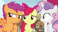 Scootaloo suspicious of Big Mac's behavior S7E8
