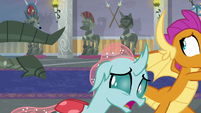 Smolder and Ocellus run from living armor S8E15