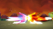 The magic beams of Twilight and Tirek about to collide S4E26