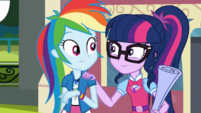 Twilight puts a hand on Rainbow Dash's shoulder SS13