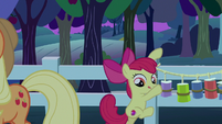Apple Bloom climbs down from fence S9E10