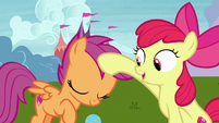 Apple Bloom pats Scootaloo on the head S7E6