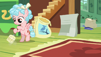 Cozy Glow sweeping up Fluttershy's cottage S8E12
