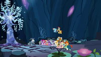 Element bearers and Pillars next to Tree of Harmony S7E26