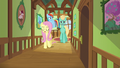 Fluttershy, Dash, and Zephyr in a cottage hallway S6E11.png
