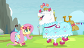 Fluttershy and Bulk in dresses S4E10.png