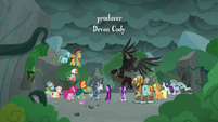 Mane Six and Pillars facing the Pony of Shadows S7E26