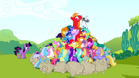 Ponies trying to grab Smarty Pants from Big McIntosh S02E03