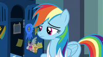 Rainbow Dash exhaustedly opening her locker S7E7