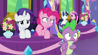 Rarity, Pinkie, and Spike cringing S7E1