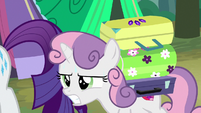 Sweetie Belle carrying Rarity's luggage S7E16