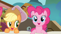 Applejack and Pinkie Pie emerges from the sheet S4E09.png
