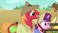 Big Mac and Sugar Belle dressed as farm ponies S7E8.png