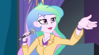 Celestia gestures toward the Dazzlings EG2