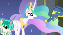 Celestia tossing Sandbar's Star Swirl hat away S8E7