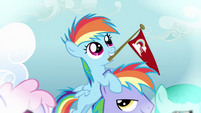 Filly Rainbow Dash on her father's head S3E12