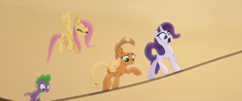 Main ponies crossing the anchoring rope MLPTM