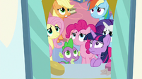 Mane Six and Spike looking worried S9E25