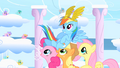 Pinkie Pie, Applejack, and Fluttershy carry victorious Rainbow Dash on their backs S1E16.png