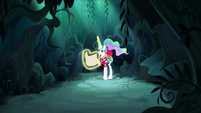 Princess Celestia alone in the forest S9E13