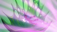 Queen Chrysalis flies backward into her throne S6E26