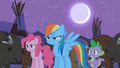 Rainbow Dash, Pinkie Pie, and Spike looking worried S01E21.png