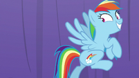 Rainbow Dash about to rocket out of the room S8E5