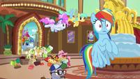 Rainbow Dash hears Goldie shout behind her S8E5