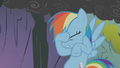 Rainbow Dash places her hoof on her face S1E07.png