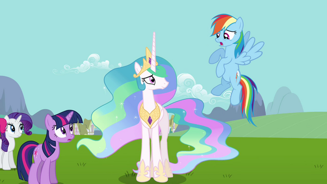 Файл:Rainbow Dash skeptical about Celestia and Fluttershy S03E10.png