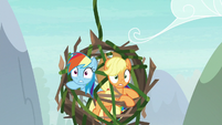 Rainbow and AJ's cage falls a little S8E9