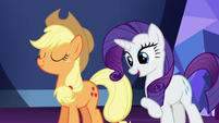 Rarity speaks; Applejack nods in agreement S5E22