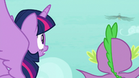 Twilight and Spike see the roc fly away S8E11