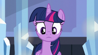 Twilight looking confused at Spike S6E16