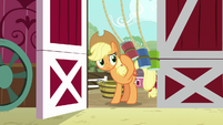 Applejack entering the barn S9E10