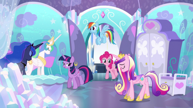 File:Celestia, Luna, and Cadance bow to Twilight S6E1.png