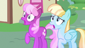Cheerilee and Helia scared of Princess Ember S7E15.png