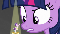 Giant Twilight towering over ballerina Starlight S7E10
